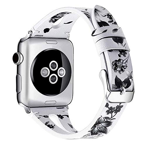 C&P Leather Strap for Apple Watch Band, Women Slim Elegant Floral Wristband Soft Genuine Leather Light Weight Breathable Bracelet - White Strap & Black Flowers (38mm 40mm)