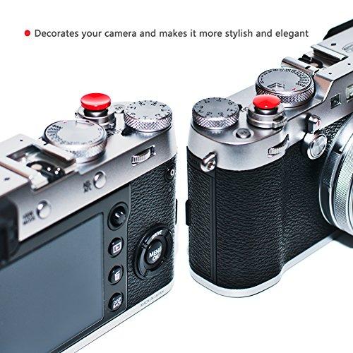 (Paquete de 2) VKO Red Soft Metal Shutter Disparador Compatible para Fujifilm X-T3 X-T2 X100F X-T20 X-PRO2 X-E3 X30 X100S X-E2 RX10 II III M6 M7 M8 M8 M9 M9 M9 M9 Múltiples superficies convexas