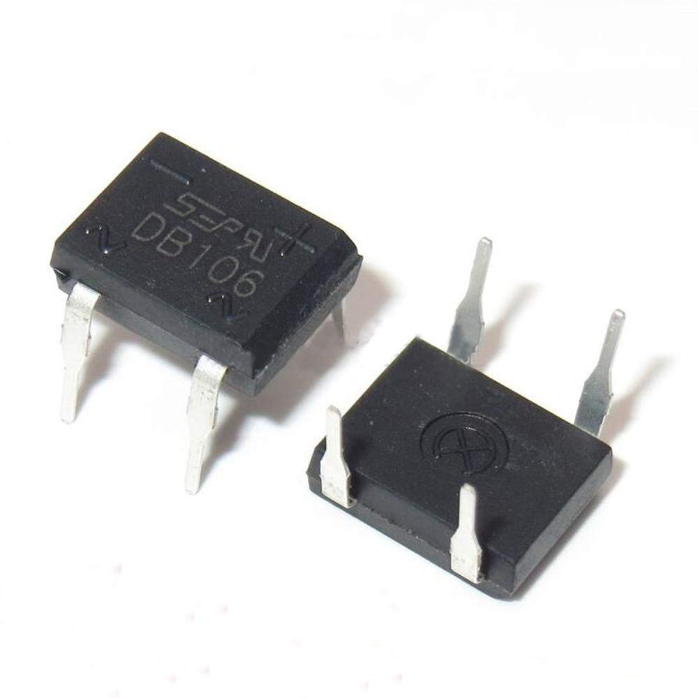 Full Wave 1 Amp 600 Volt Electronic Silicon Diodes PoiLee 50pcs Bridge Rectifier Diode 1A 600V DB106 DIP-4 Single Phase DB-1