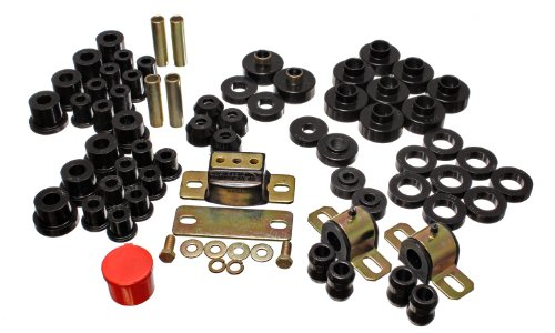 Energy Suspension 2.18103G Hyper-Flex System; Black; Incl. Front/Rear Spring/Shackle Bushings; Front Sway Bar Bushings; Body Mounts;Trans. Torque Arm Bushings; Tie Rod End Boots; Performance ()