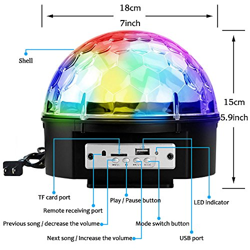 YouOKLight Sound Activated 6 Color LED Music Crystal Magic Ball MP3 Disco DJ Stage Lighting with Remote Control for Home Room Dance party Birthday Gift Kids Club Wedding Decorations by YouOKLight (Image #3)