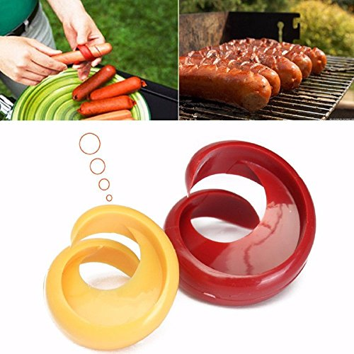 [Pakdeevong shop 2PCs Manual Fancy Sausage Cutter Spiral Barbecue Hot Dogs Cutter Slicer kitchen Cutting Auxiliary Gadget Fruit Vegetable Tools] (Frank's Red Hot Costume)