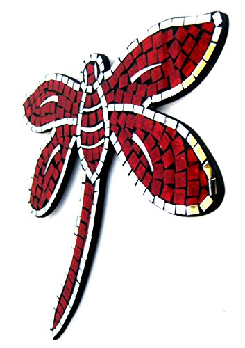 Oma Dragonfly Shaped Mosaic Wall Hanging Decor Dragon Fly Mirror - RED