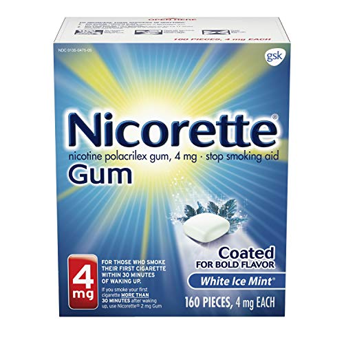 Nicorette 4mg Nicotine Gum to Quit Smoking, Flavored, White Ice Mint, 160 Count