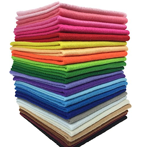 - 24pcs Thick 1.4mm Soft Felt Fabric Sheet Assorted Color Felt Pack DIY Craft Sewing Squares Nonwoven Patchwork (1515cm)