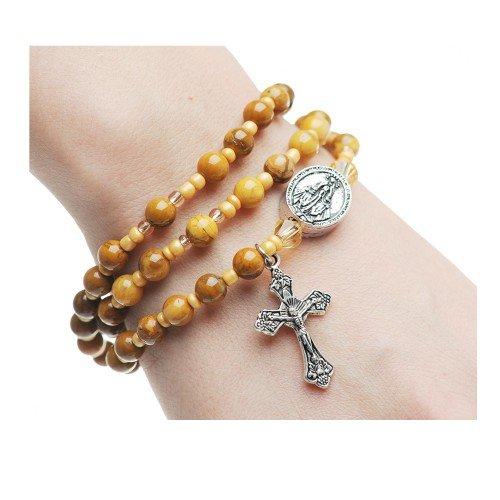 Ivory Jasper Wristable Bracelet 6mm Genuine Ivory Jasper Beads Make up This Full Rosary Stretch Bracelet.