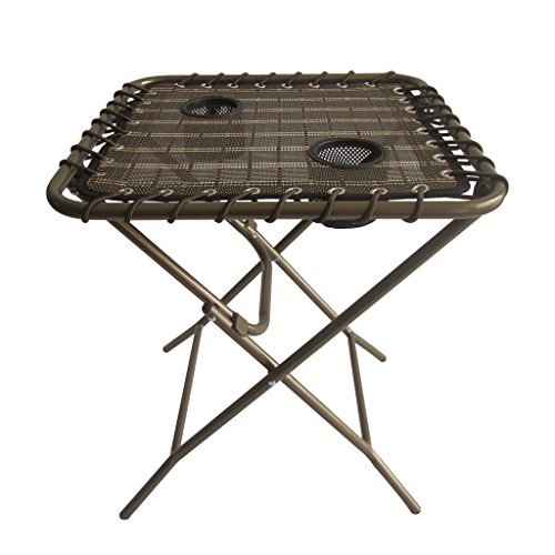 Cheap Finether Folding Side Table with Mesh Drink Holders for Patio, Garden, Picnics, Camping, Bronze