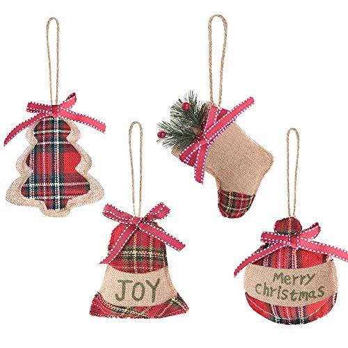 Aglife 12 Pcs Christmas Tree Ornaments, Christmas Tree Decorations, Christmas Stocking, Ball, Tree, Bell Holiday Party Decor