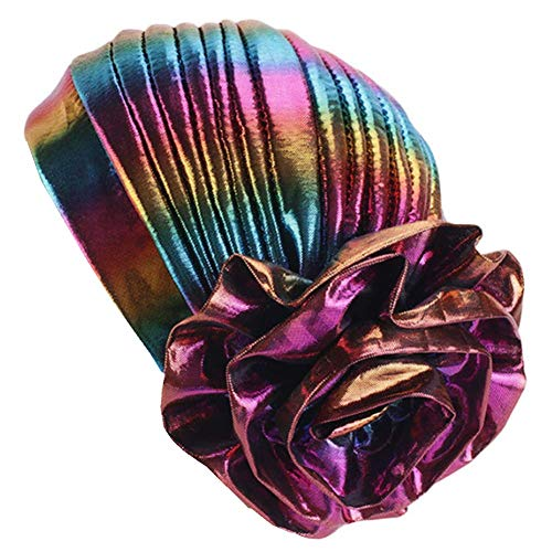 Myluna Glitter Laser Flower Turban Colourful Beanie Cap Stretchy Hair Wrap for Women (D Gold) - Glitter Turban Hat