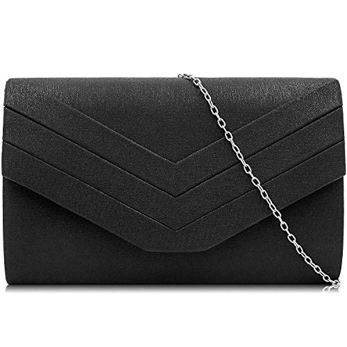 Milisente Clutch Purses Crossbody Shoulder Handbags for Women, Envelope Evening Clutch Bag (PU Black)