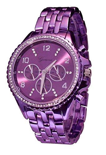 Geneva Purple Haze Rock Star Metallic CZ Chronograph 9083 Size 2 Medium