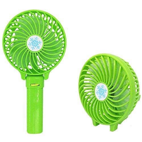 WALLER PAA Foldable Hand Fan Battery Operated USB Power Handheld Mini Fan with Hanger (Green)