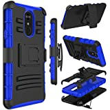 LG Stylo 4 Case, LG Q Stylo Case, Zenic Heavy Duty Shockproof Full-body Protective Hybrid Case Cover with Swivel Belt Clip and Kickstand for LG Stylo 4 Plus/LG Stylus 4(Black/Blue)