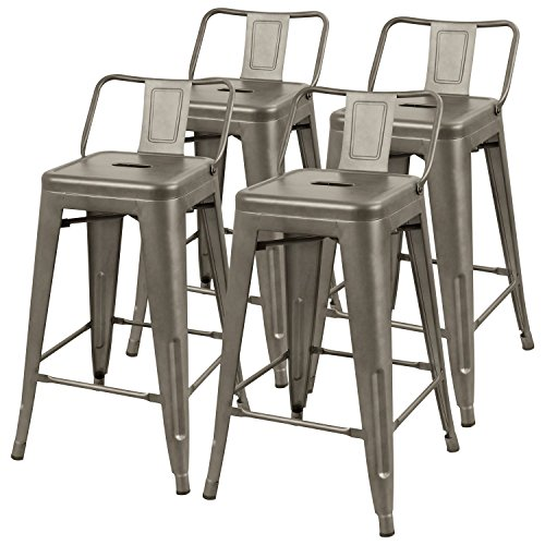 Outdoor Wood Finish Bar Stool - Furmax 24'' Metal stools High Backrest Gun Metal Indoor-Outdoor Counter Height Stackable bar Stools (Set of 4)