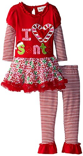 Rare Editions Little Girls' I Heart Santa Candy Cane Tutu Set, Red, 6M (Candy Cane Outfit)