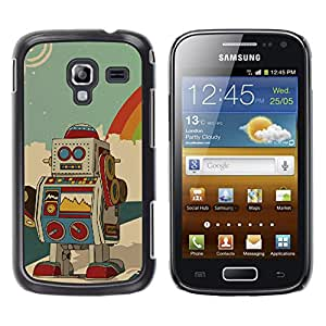 Qstar Arte & diseño plástico duro Fundas Cover Cubre Hard Case Cover para Samsung Galaxy Ace 2 I8160 / Ace2 II XS7560M ( Robot Ai Drawing Cartoon Animation Colorful)