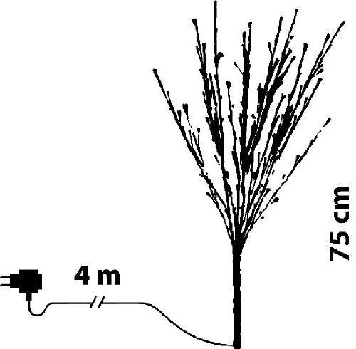Ramo marron, 80 led bianco caldo, 75 cm Luminalpark Lottiimportex