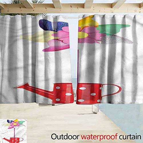 (MaryMunger Outdoor Waterproof Curtains Pinwheel Watering Can and Flower Rod Pocket Energy Efficient Thermal Insulated W55x45L Inches)