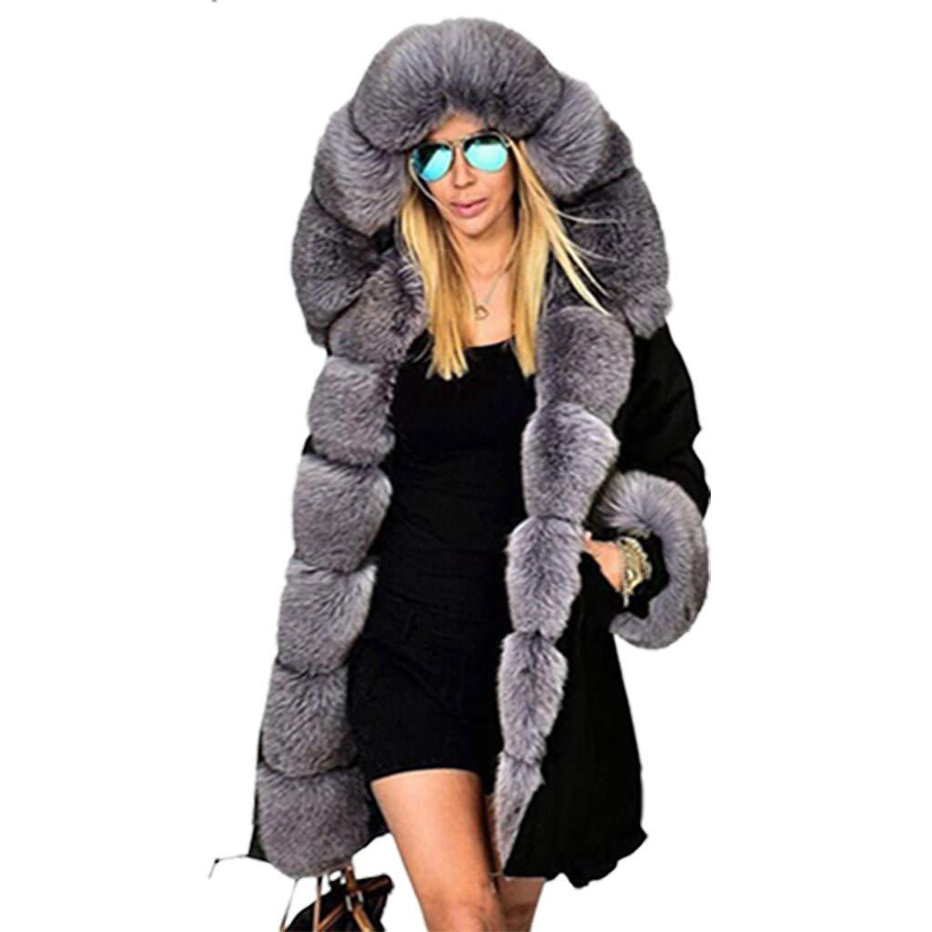 Blackgrey VVTS Womens Hooded Faux Fur Lined Warm Coats Parkas Anoraks Outwear Winter Long Jackets