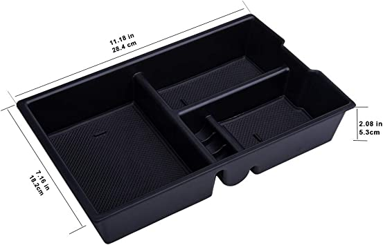 AORRO Center Console Organizer Tray Fit for 2009-2018 Dodge RAM 1500 and 2010-2019 RAM 2500//3500 Black Insert ABS Materials Armrest Box Secondary Storage Full Console w//Bucket Seats ONLY