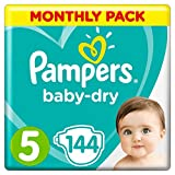 Pampers Baby-Dry, 144 Nappies, 11-16 kg, Monthly Saving Pack, Air Channels for Breathable Dryness...