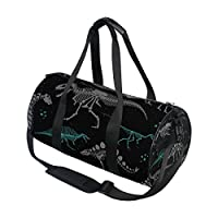 AHOMY Dinosaur Duffel Bag Black White Skeleton Sports Gym Bags for Men and Women