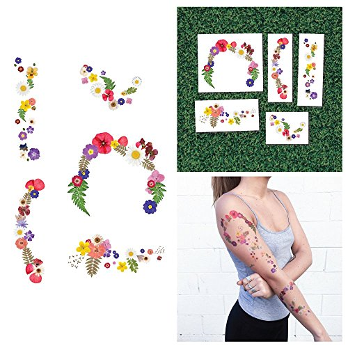 Tattify Colorful Flower Temporary Tattoos - Dry Garden (Set of 10) - Premium Quality, Long Lasting and Waterproof (Henna Tattoo Earth)