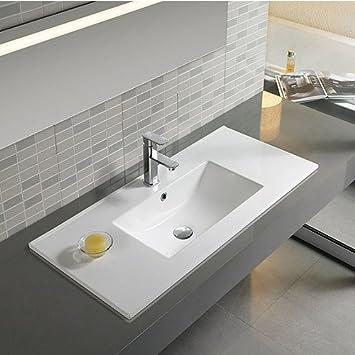 Dafne Lavabo encastrable au design moderne rectangulaire Blanc 60 cm ...