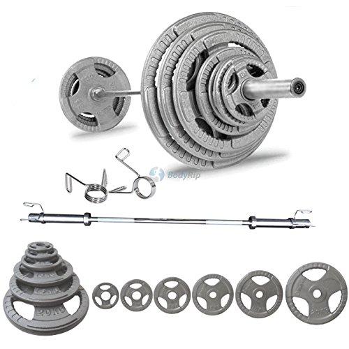 Bodyrip Tri Grip Olympique de poids de 105kg Y Compris 1,8m Barbell Colliers et haltères