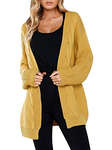 Saikesigirl Womens Oversized Cardigan Chunky Open Front Long Sleeve Cable Knit Sweaters