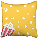 Staroutah Throw Pillow Cover 18''X18'' Polyester Pink Pop Popcorn Bag Cinema In Flat Design Style Red Corn Movie Night Food Symbol Film Decorative Pillowcase Two Sides Deco For Home