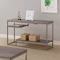 Coaster 703729 Home Furnishings Sofa Table, Weathered Grey/Black Nickel