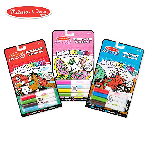 Melissa & Doug On the Go Magicolor Coloring Books Set - Farm Animals, Friends and Fun, Adventure -