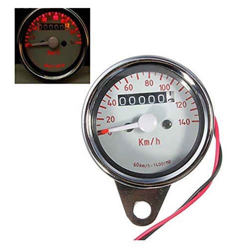 Universal Motorcycle LED Dual Odometer Test Miles Speedometer Gauge - 1