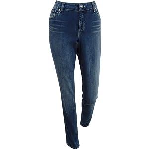 77e0171906b4 Amazon.com  INC Womens Denim Medium Wash Straight Leg Jeans Blue 24W ...