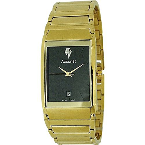 Accurist Gents Black Dial Date Gold Tone Stainless Steel Bracelet Watch MB594B