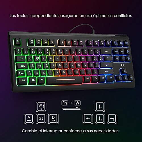 Teclado USB Rii RK104, 88 teclas, teclado ergonómico y retro iluminado multicolor, antighostling. Ideal para Gsming y trabajo. Color negro. Layout ...