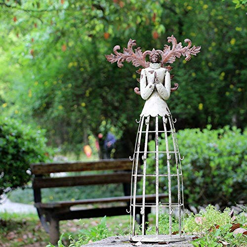 Attraction Design Antiqued Praying Metal Garden Angel Statue with Hooks, Indoor Outdoor Angel Yard Art Decor Lawn Patio Decorations Holiday Decor Garden Gift Idea, 23''H (Praying Angel-B)