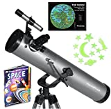 "Silver TwinStar FirstStar 3"" Reflector Telescope Kids Pak Bundle"