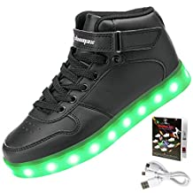 Shinmax Hi-top Adult Series 7 Color USB Rechargeable LED Shoes Light Up Shoes Flashing Sneakers for Unisex Men and Women for Valentine's Day Christmas Halloween with CE Certificate 001