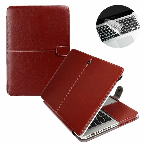 Se7enline Macbook Pro Case PU Leather Book Case for MacBook Pro 13 inch model A1502 / A1425 with Retina display Sleeve Carrying Cover Folio Case with Transparent Keyboard Cover, Brown