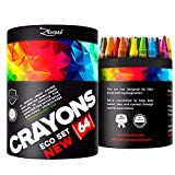 Crayons for Toddlers Babies Kids Big Eco Gift Box Colored Crayon Pack - 64 Unique Colors -FREE Extra Gift: Coloring eBook, Classroom School Supplies Wax Color Bulk Large Count Not Crayola Non Washable