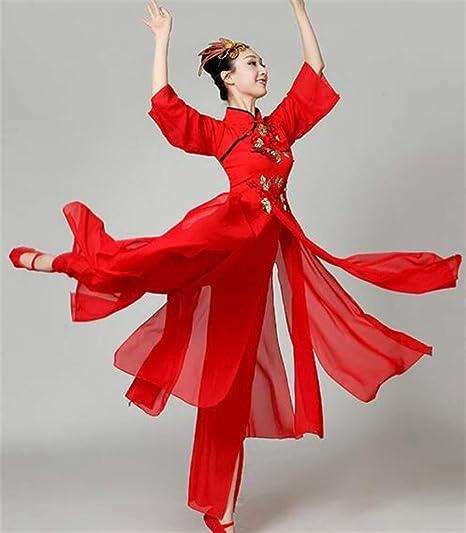 peiwen La Mujer Elegante Traje Rojo Traje/Vestido/Fan Dance Show ...