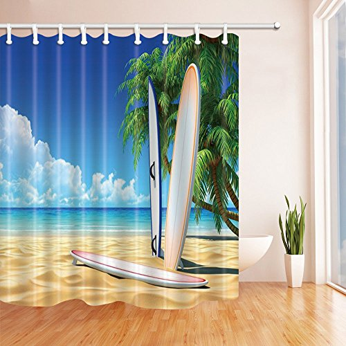 (BCNEW Surfboard Shower Curtain Decor Blue Ocean Sea Golden Beach Green Palm Tree Landscape Sport Surfing Bathroom Curtain Polyester Fabric Machine Washable with Hooks 70x70 Inches)