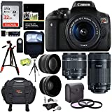 Canon EOS Rebel T6i Digital SLR EF-S 18-55mm is STM Lens + EF-S 55-250mm + 58mm .43x Wide Angle & 2.2X Lenses + 32GB Memory Card + Two Tripods + 58mm Filters + Accessory Kit