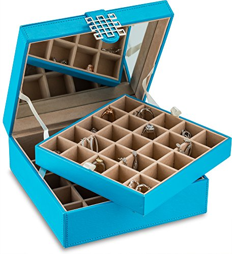 - Glenor Co Classic 50-Section Jewelry Box Earring Organizer - with Large Mirror, Blue