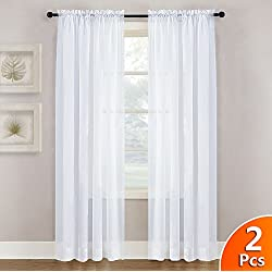 NICETOWN White Sheer Curtains Panels 84 Window Treatment Rod Pocket Sheer Voile Drapes/Yarn for Bedroom (One Pair, W55 x L84, White)