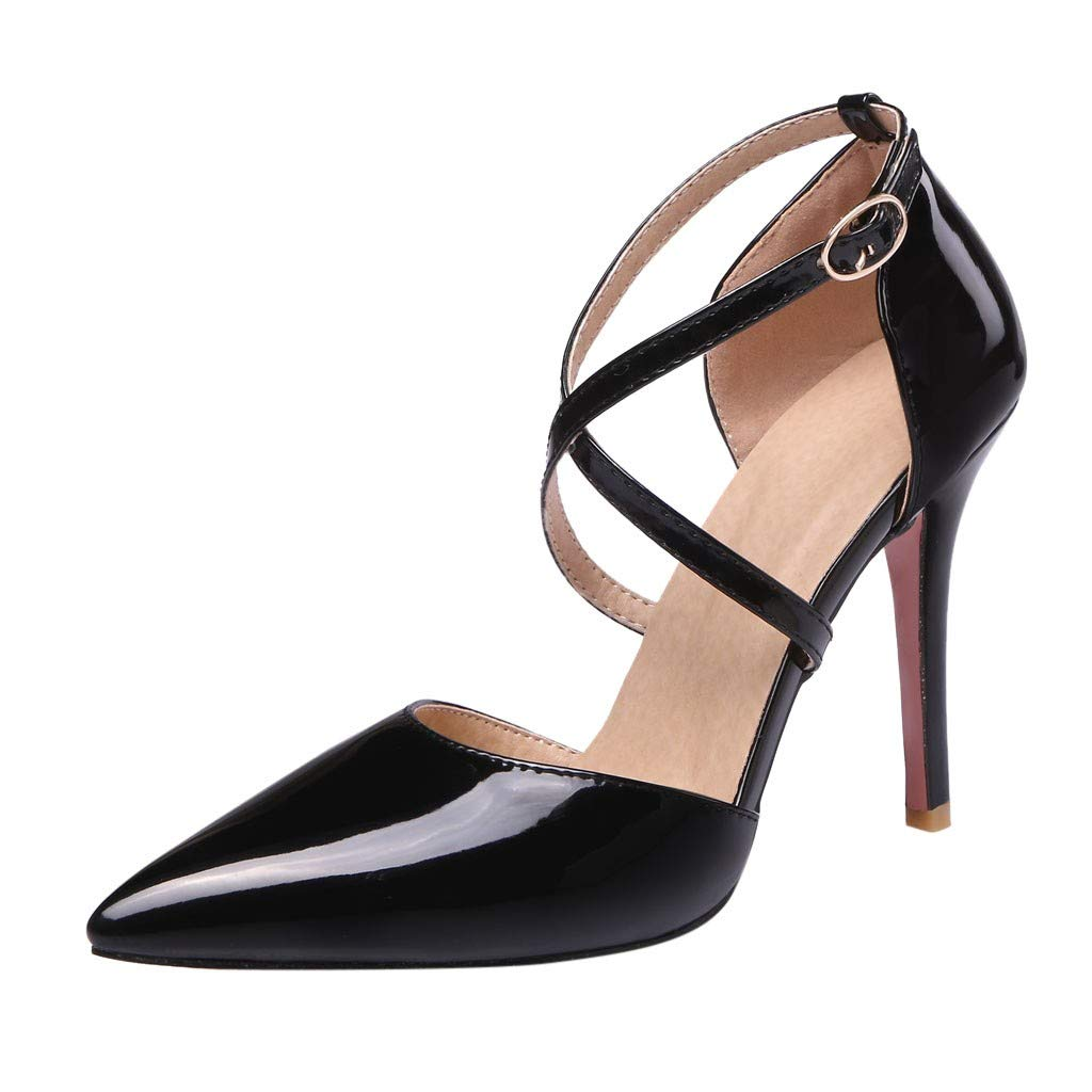 hurgfkho Womens Shoes Stilettos High-Heeled Thin Heels Buckle Strap Cross Straps Pointed Patent Leather Sandals Casual Heeled