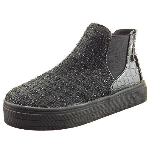 Glänzende Damen Plateauschuhe Sopily Schwarz Chelsea Boots Schuhe Mode Schlangenhaut Stiefeletten Ppw0qgTw