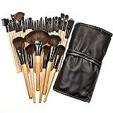 Hair Brush Phone Case 32pcs Makeup Brushes Set Professional Cosmetic Foundation Powder Eyeshadow Brush Kit with Bag (Wooden)